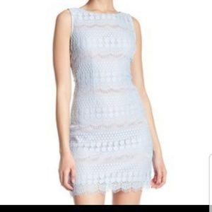 Eliza J Lace Shift Dress With Fringe Hem